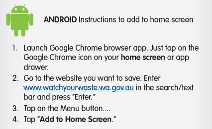 Android instructions Add to home screen
